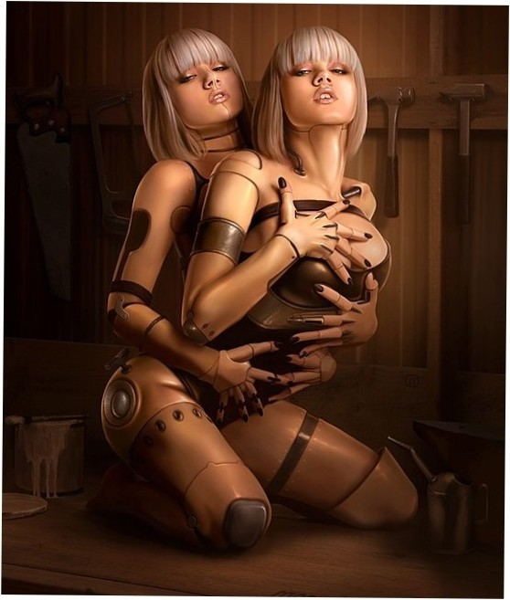 sex robot with 2 torsos on one pair of legs and pussy...HOT