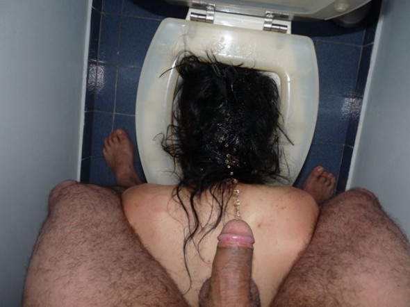 Pissed head in toilet